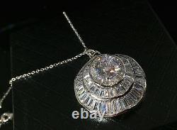 18k White Gold GF Pendant Necklace made w Swarovski Crystal Diamond Solitaire