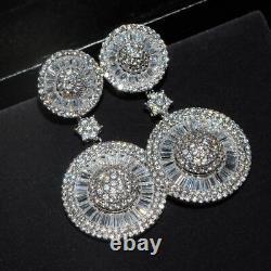 18k White Gold GF Round Dangle Earrings made w Swarovski Crystal Baguette Stone