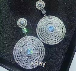 18k White Gold GF Sparkling Big Hoop Earrings made w Swarovski Crystal Stone