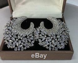 18k White Gold GP Cuff Earrings made w Swarovski Diamond Marquise Stone Gorgeous