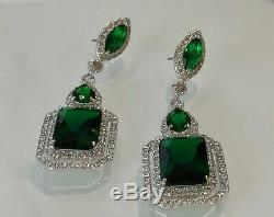 18k White Gold Long Earrings made w Swarovski Emerald Green Stone Quality Jewel