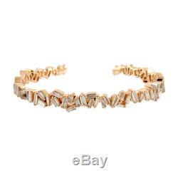 18kt Solid Rose Gold 4.44ct Baguette Diamond Cuff Bracelet Fashionable Jewelry