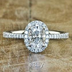 1.50 Ct. Beautiful Oval Cut Diamond Engagement Ring D, VVS1 GIA Halo Style Pave
