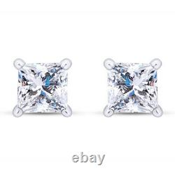 1 Ct Princess Cut Simulated Dimaond Solitaire Stud Earrings Solid 14k White Gold