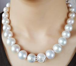 20 Gorgeous AAA+ 15mm real natural south sea white pearl necklace 14k clasp