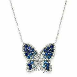 2Ct Blue Sapphire Diamond Butterfly Pendant Necklace W18Chain 14k White Gold Fn