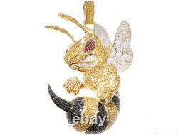 2.50 Ct Multi Color Sim Diamond Large Angry Bee Pendant 14K Yellow Gold Plated