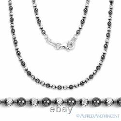 2.5mm Ball Bead Link Chain Italian Necklace. 925 Sterling Silver & Black Rhodium