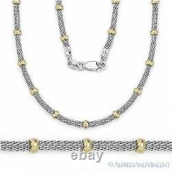 3.9mm Bead 2.4mm Mesh Link Chain Necklace. 925 Sterling Silver & 14k Yellow Gold