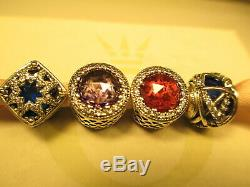 4 Authentic Pandora Charms Galaxy Glacial Beauty Radiant Hearts Red Purple Blue