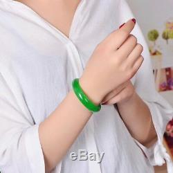 54.3mm Natural Emerald Green Jadeite Jade Bangle Bracelet Handmade