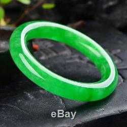 56mm Natural Emerald Green Jadeite Jade Bangle Bracelet Handmade