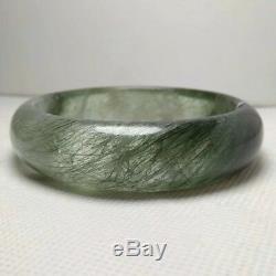 58.3mm Natural Green Hair Rutilated Quartz Crystal Bangle Bracelet Handmade AAA