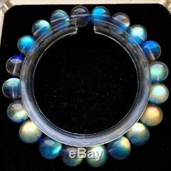 7.5mm Natural Burma Moonstone Rainbow Blue Light Round Beads Bracelet AAAAAA