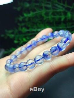 8mm Rare NATURAL Clear Beautiful Blue Dumortierite Crystal Beads Bracelet AAAA
