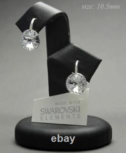 925 STERLING SILVER Earrings Crystals from Swarovski 10.50 mm RIVOLI CRYSTAL