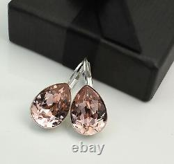 925 Silver Earrings Crystals From Swarovski Pear Fancy Stone Vintage Rose