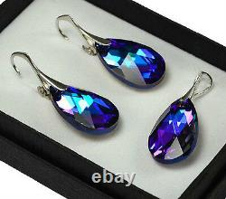 925 Sterling Silver Earrings/Set Crystals from Swarovski 22mm Pear Heliotrope