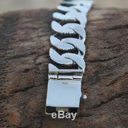925 Sterling Silver Men Man Chain Bracelet Biker Cuban Wide Size 7 8 9 10 Skin