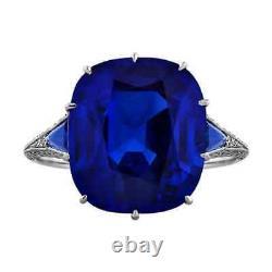 9.41CT Antique Cushion Cut Dark Blue Sapphire & Genuine White CZ 925 Silver Ring
