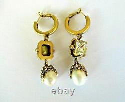ALEXANDER MCQUEEN Clear Glass Crystal FRESHWATER PEARL Drop Earrings