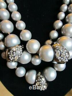 ALEXIS BITTAR Silver beaded 3 layer Necklace Mint Condition