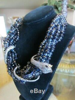 ALEXIS BITTAR dark blue Crystals snake wrap around Necklace Mint Condition