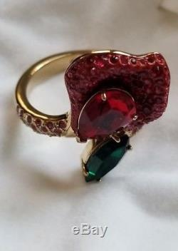 AUTHENTIC ATELIER SWAROVSKI THE BEAUTY AND THE BEAST ROSE RED STACKING RING Sz58