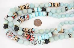 Akola light blue multi-strand amazonite glass beaded collar necklace NEW $350