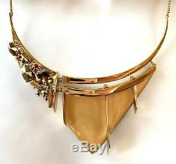 Alexis Bittar $275 Gold Lucite Multi-stone Bib Statement Necklace 10k Goldplated