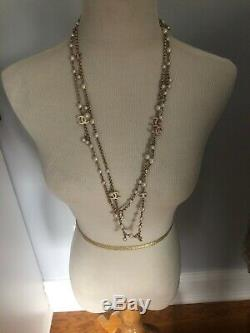Amazing Chanel White Pearl Pink Enamel CC 62 Inch Strand Opera Long Necklace NEW