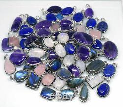 Amethyst & Mix Gemstone 925 Sterling Silver Overlay Lot Handmade Pendant BGJ-21
