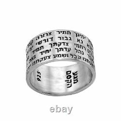 Amulet Kabbalah Ring with Full Prayer Ana Bekoach Sterling Silver Necklace Jewelry