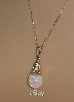 Antique 14K Gold Horace Welch Floating Opal Pendant and Necklace Beautiful