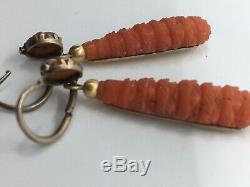 Antique Victorian Gold Beautifully Carved Coral Torpedo Style Drop Earrings