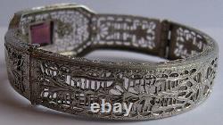 Art Deco Beauty Vintage Faceted Purple Glass Enamel Silver Filigree Bracelet