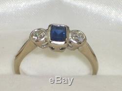 Art Deco Style Sapphire & Diamond Ring. Beautiful Blue Emerald Cut Sapphire