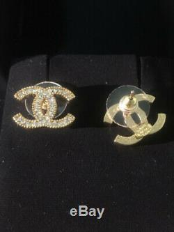 Auth CHANEL CC Logo Classic Stud Earrings Crystal Gold tone
