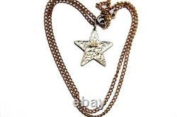 Auth CHANEL CC Logo Peach Star Pendant Gold Tone Chain Necklace Rare Vintage