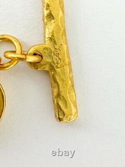 Auth YSL YVES SAINT LAURENT VINTAGE GOLD TONE BRACELET HEART LINK BEAUTIFUL
