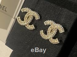 Authentic 2019 Chanel CC Logo Crystal Gold Tone Brass Crystal Earrings Studs