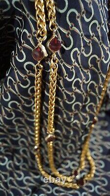 Authentic CHANEL 1971-1980 Gold Tone & Red Gripoix Glass Necklace