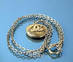 Authentic CHANEL CC Logo Gold Tone Chain Necklace Pendant France Vintage Used