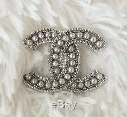 Authentic CHANEL Classic CC Large Silver With Pearl Pin Brooch