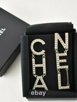 Authentic CHANEL Earrings Dangle Long Crystal Gold Tone CC Logo RUNWAY