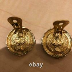 Authentic CHANEL Vintage Earrings Gold Black Coco Clip CC Logo USED AC0053