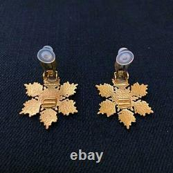 Authentic CHANEL Vintage Earrings Gold Plated Clip CC USED AC0016