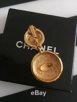 Authentic CHANEL Vintage Gold Logo Clip on Earrings Coco CC Drop HCE082