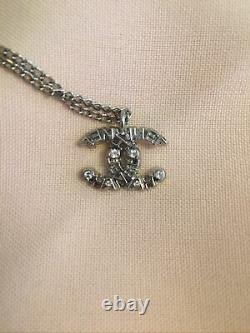 Authentic Chanel CC Logo Necklace Pendant Silver Plated