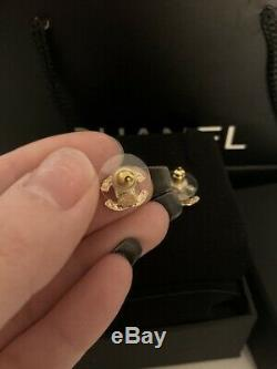 Authentic Chanel Classic CC Logo Crystal Gold Tone Earrings Studs Small